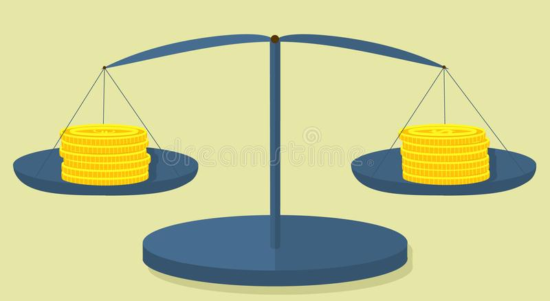 Coins dollar and euro on scales of metallic color... stock illustration
