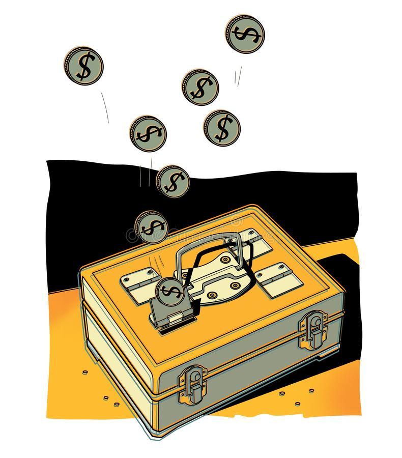 Coins with a dollar sign fall into a portable metal safe. Interval share fund vector illustration