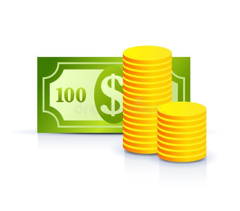 coins dollaranmärkningen vektor illustrationer