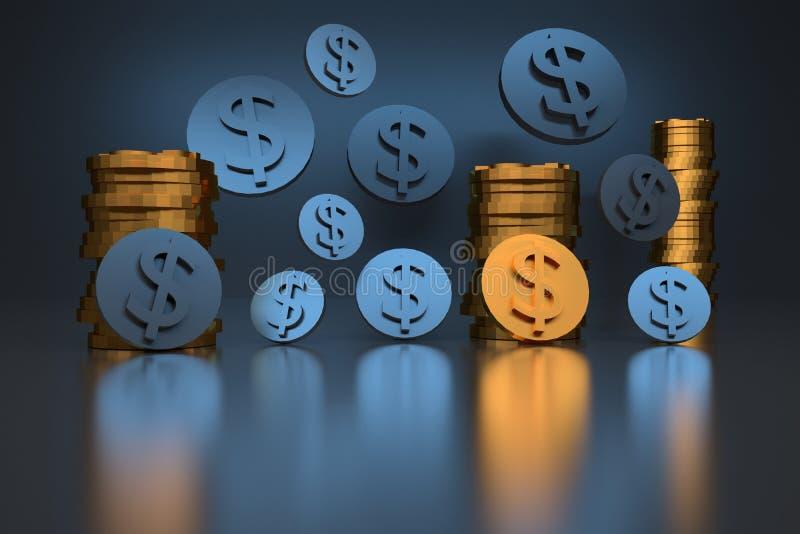 coins dollaren Mynt med dollartecken som färgas i guld- och blåa färger på skinande reflekterande yttersida stock illustrationer