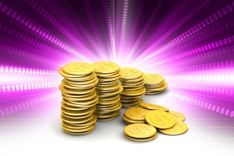 coins dollareuroguld royaltyfri illustrationer