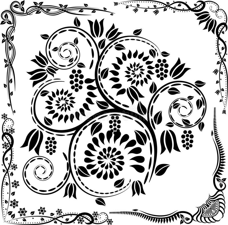 Coins et ornements illustration stock