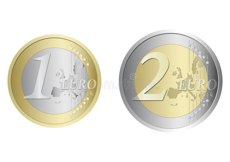 coins euro royaltyfri illustrationer