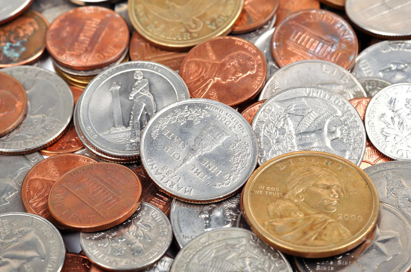 Coins. Euro and dollar coins, close up stock photo