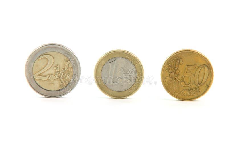 coins euro tre royaltyfri foto