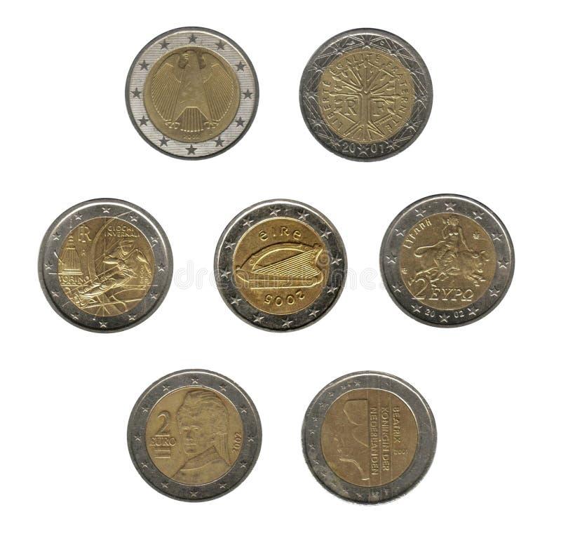 coins euro två fotografering för bildbyråer