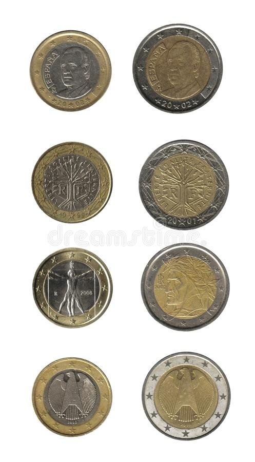 coins euroen som isoleras över white royaltyfri fotografi