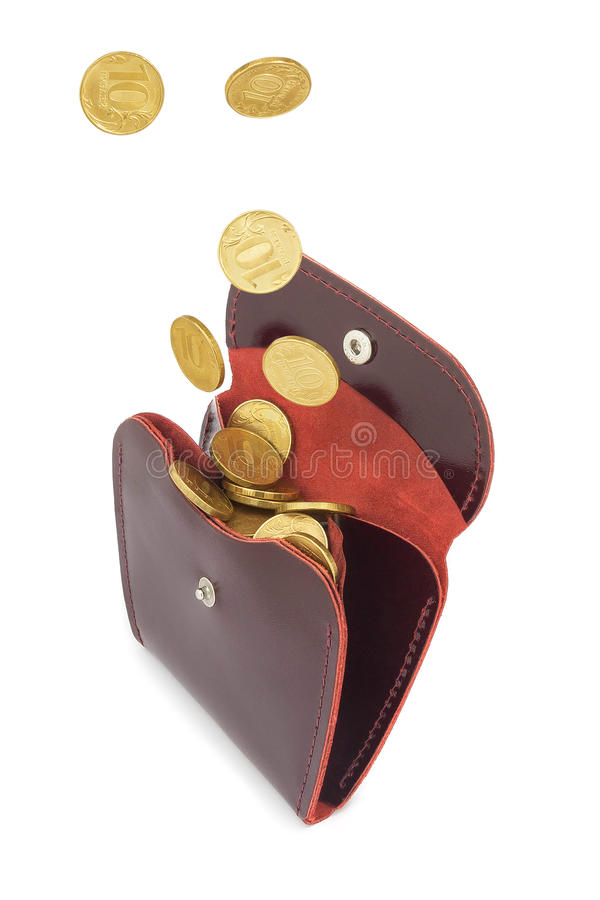 Coins fall into leather purse. Coins money fall into red leather purse royalty free stock image