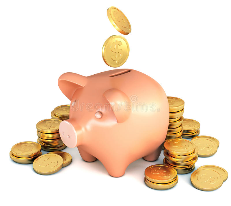 The coins fall into the piggy bank. Heap of coins. Conceptual illustration. on white background. 3d render royalty free illustration