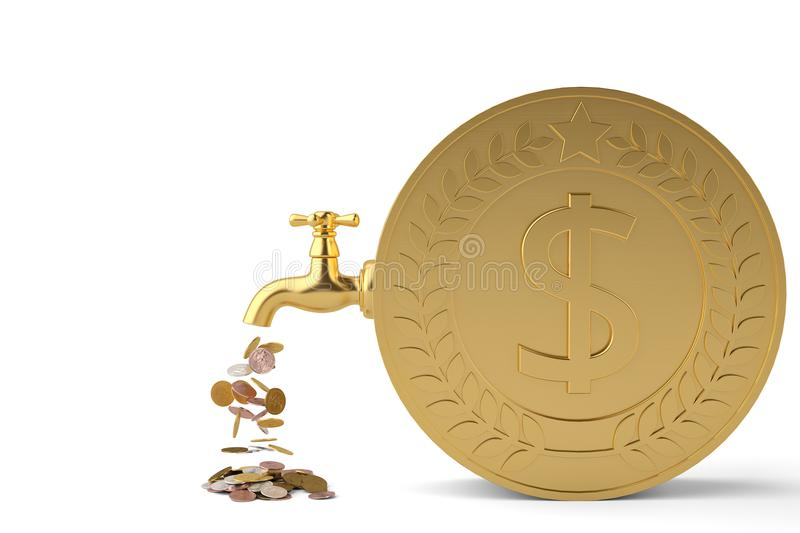 Coins fall from the tap and big coin isolated on white background 3d illustration. stock illustration