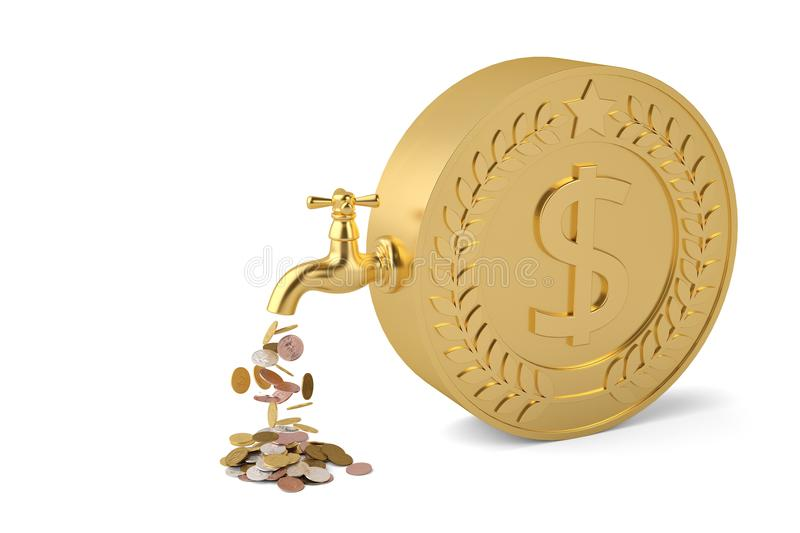 Coins fall from the tap and big coin isolated on white background 3d illustration. royalty free illustration