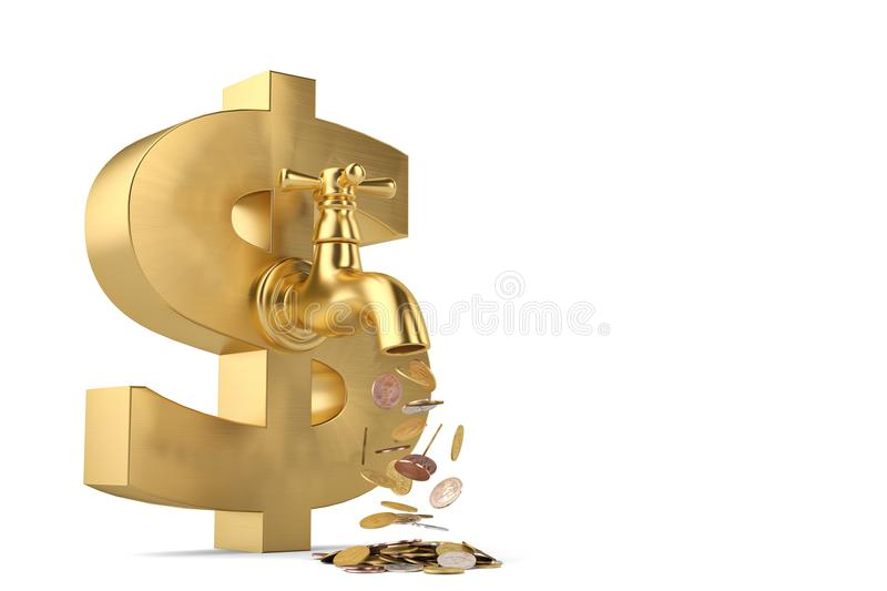 Coins fall from the tap and big dollar sign isolated on white ba stock illustration