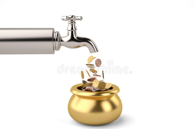 Coins fall from the tap isolated on white background 3d illustration. stock illustration