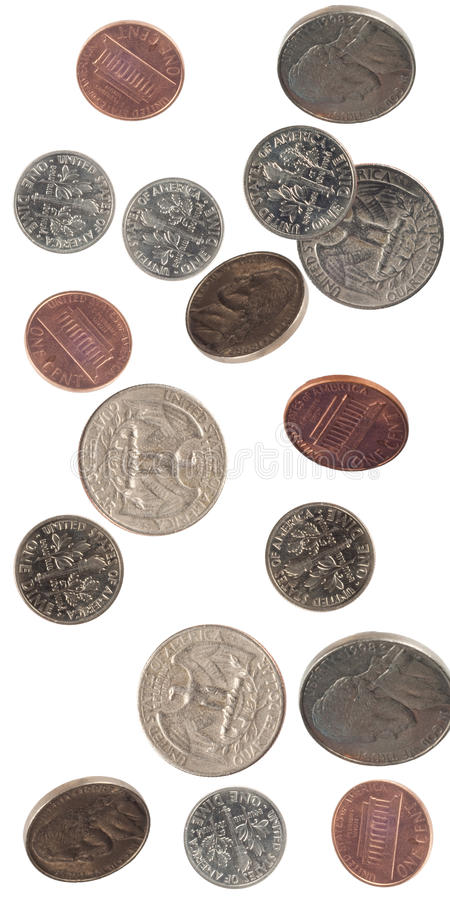 Coins falling royalty free stock photography