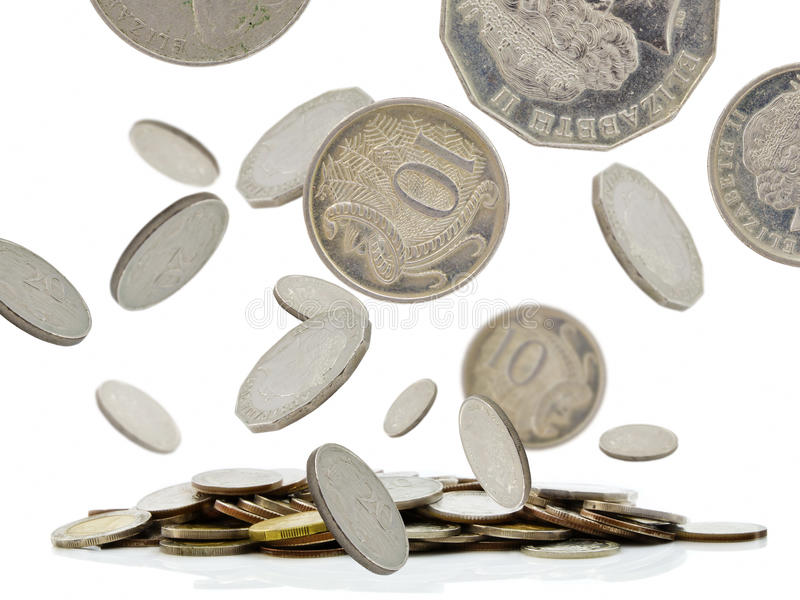 Coins falling. And pile of money stock photos