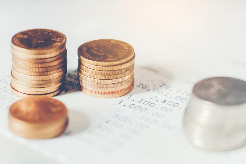 Coins for finance and banking on digital stock market financial exchange and Trading graph.  stock image