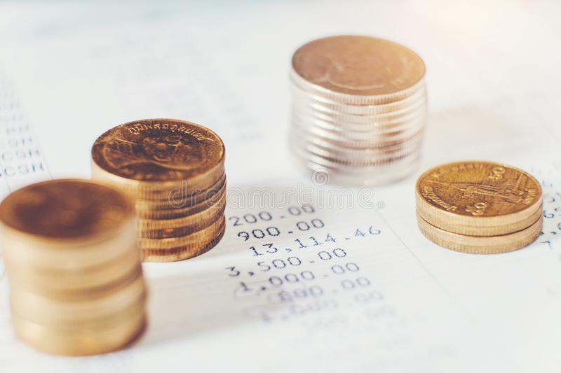Coins for finance and banking on digital stock market financial exchange and Trading graph.  royalty free stock images