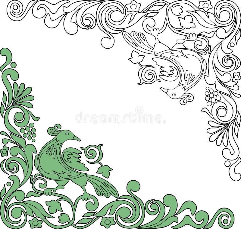 Coins floraux d?coratifs avec l'oiseau fabuleux illustration stock