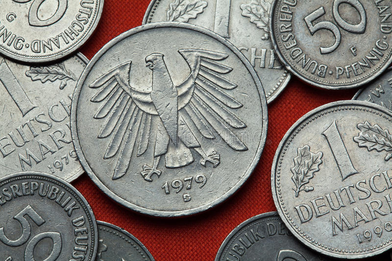 Coins of Germany. German eagle. Depicted in the German five Deutsche Mark coin (1979 stock photos