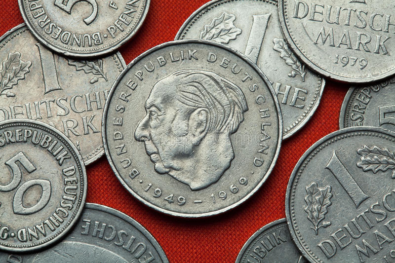 Coins of Germany. German statesman Theodor Heuss royalty free stock photography