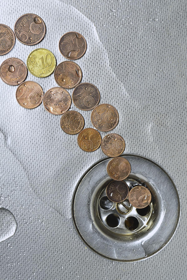 Download Coins go to drain stock image. Image of finance, useless - 26180635
