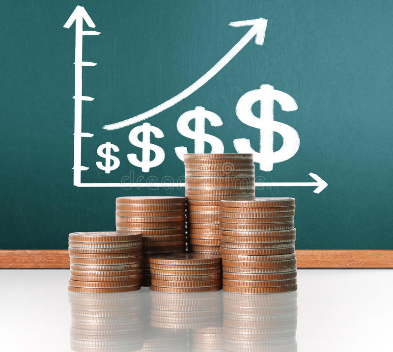 Coins graph stock market. Nvestment concept, Coins graph stock market royalty free stock photography