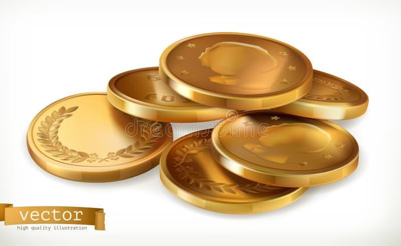 coins guld- Pengarvektorsymbol stock illustrationer