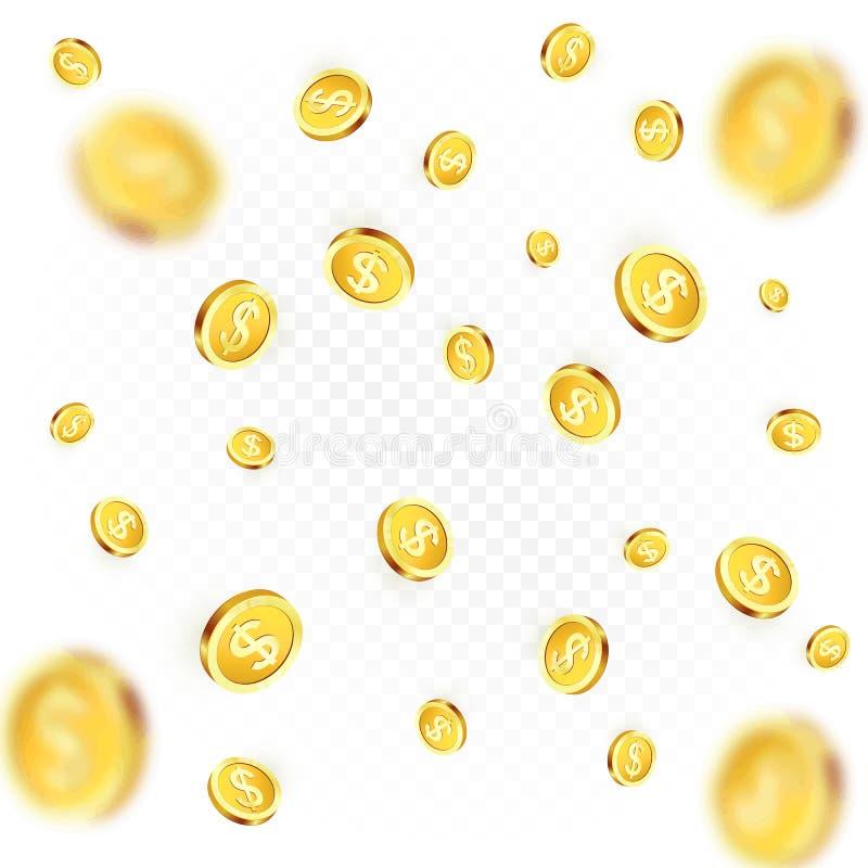 coins guld- regn Falla eller flyga pengar Realistiskt guld- mynt på genomskinlig bakgrund royaltyfri illustrationer