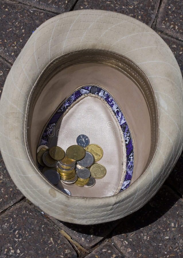 Download Coins in a hat stock image. Image of beggar, largess, metal - 8725069