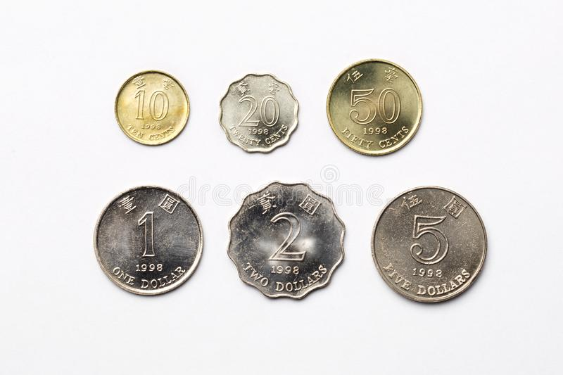 Coins from Hong Kong on a white background. Dollars royalty free stock photo