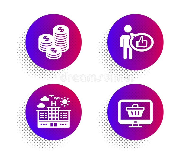 Coins, Hotel and Like icons set. Web shop sign. Cash money, Travel, Thumbs up. Shopping cart. Business set. Vector stock illustration