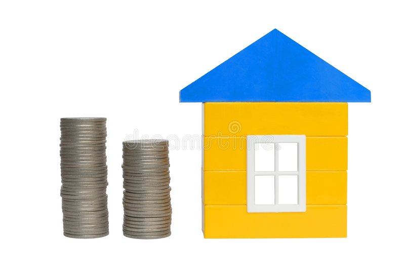 Coins and House royalty free stock photo