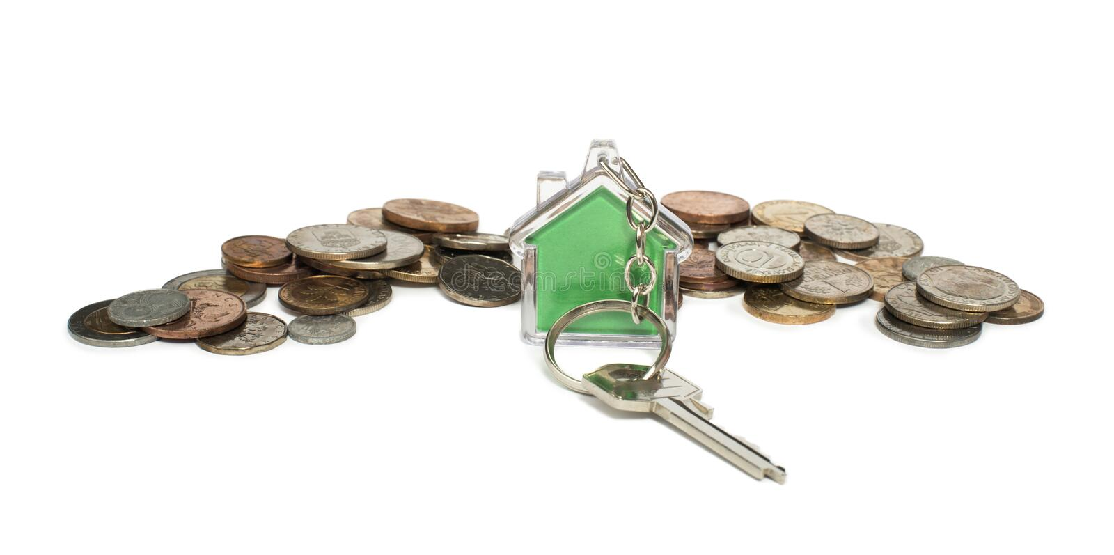 Coins and house key ring stock images