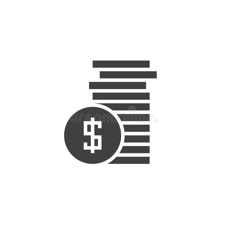Coins icon vector, money solid logo, pictogram isolated on white. Pixel perfect illustration royalty free illustration