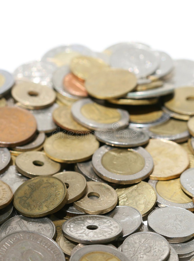coins internationalen royaltyfri fotografi