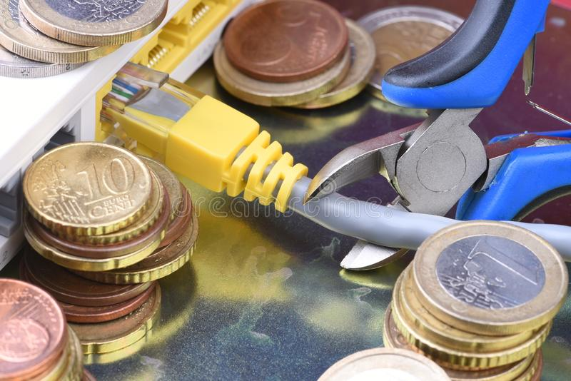 Coins and internet router, paid access to the network stock photo