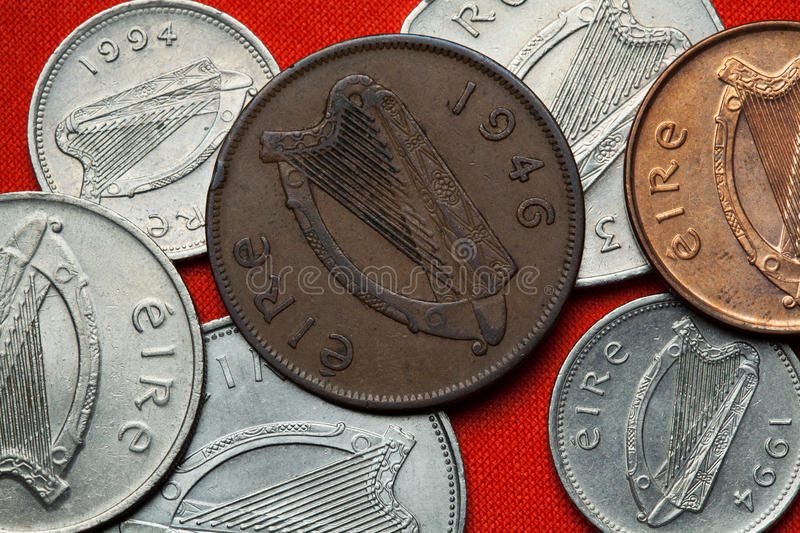 Coins of Ireland. Celtic harp. Depicted in the Irish one penny coin (1946 stock images