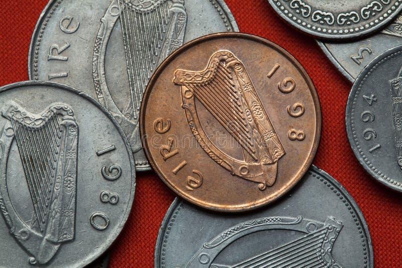 Coins of Ireland. Celtic harp stock photo