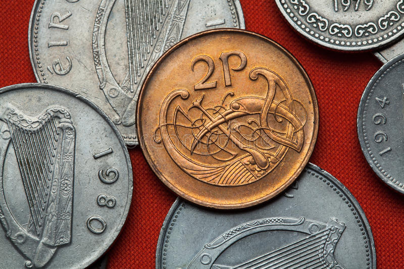 Coins of Ireland. Celtic ornamental bird. Depicted in the Irish two pence coin stock image