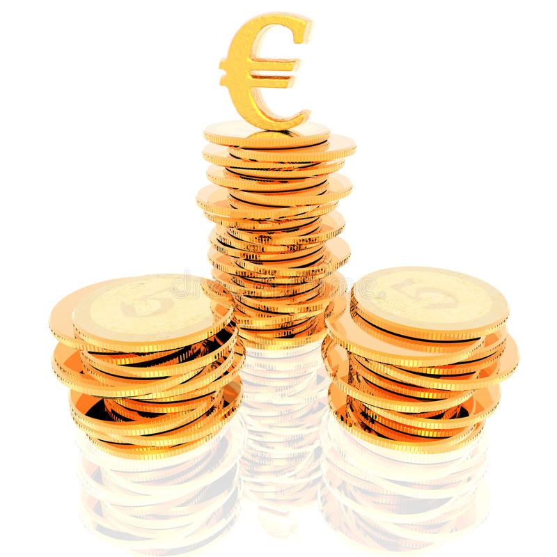 Coins Isolated On A White Stock Image