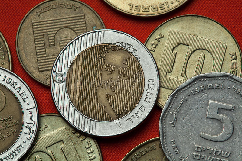 Coins of Israel. Prime Minister Golda Meir. Coins of Israel. Prime Minister of Israel Golda Meir depicted in the Israeli ten new shekels coins stock image