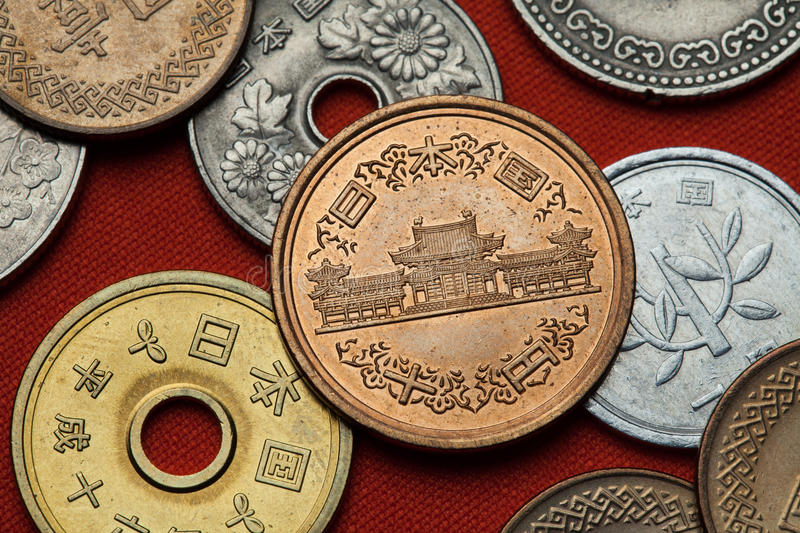 Coins of Japan. Phoenix Hall in the Byodo-in Temple royalty free stock photography