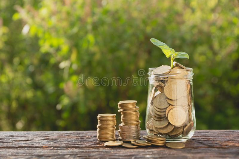 Coins in jar with money stack step growing money, Concept finance business and saving investment. royalty free stock images