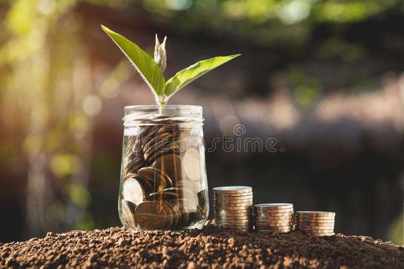 Coins in jar with money stack step growing money, Concept finance business and saving investment. stock image
