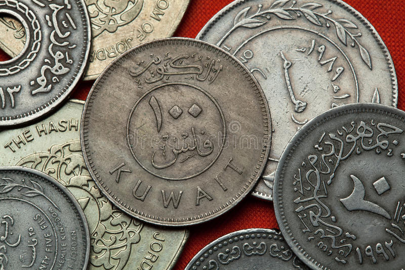Coins of Kuwait. Kuwaiti 100 fils coin royalty free stock image
