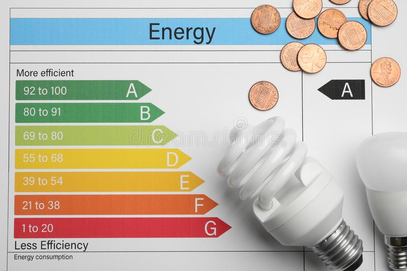 Coins and light bulbs on energy efficiency rating chart. Top view stock image