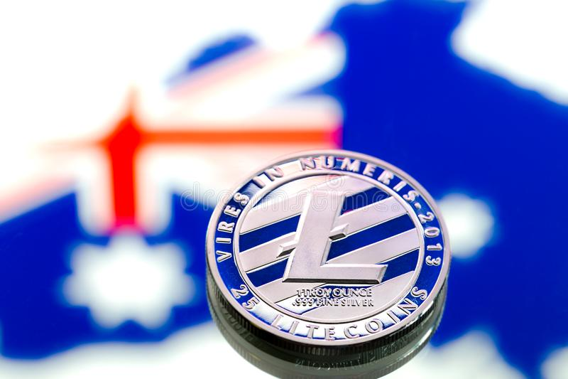coins litecoin, against the background of Australia and the Australian flag, concept of virtual money, close-up. Conceptual image. royalty free stock photography