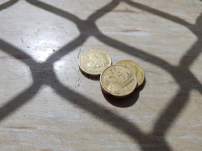 Coins in the lockup stock image