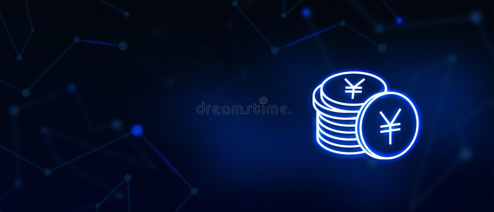 Yen Coins, Currency, Finance business, banking, Money, Dollar, Euro, Pound, Rupees, Bitcoin, Electronic currency, stock photo