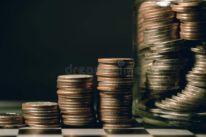 Coins money stacking step for personal financial or Business Growth stock photography